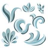 风格化蓝色波浪集合 皇族释放例证