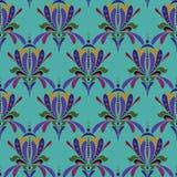 风格化虹膜花 无缝五颜六色的花卉的模式 皇族释放例证
