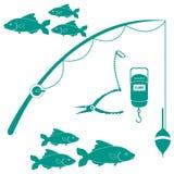 风格化象套为钓鱼的不同的f工具和群  库存图片