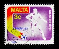 风格化足球运动员,世界杯足球赛1982年-西班牙serie,大约1982年 库存图片