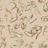 风格化鞋子无缝的背景 皇族释放例证