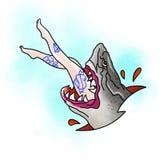 风格化鲨鱼 检查设计图象我的投资组合相似的纹身花刺 库存图片