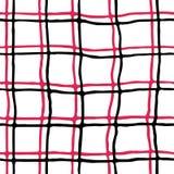 风格化黑和红色苏格兰细胞的无缝的样式在白色背景的 向量例证
