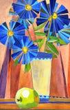 风格化水彩静物画。有大bl的花瓶 库存例证
