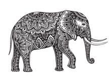 风格化幻想被仿造的大象 手拉的传染媒介illustrat 免版税库存照片