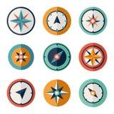 风玫瑰色指南针平的传染媒介符号集 免版税库存图片