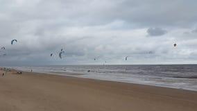 风筝海浪在蒙得维的亚乌拉圭 免版税图库摄影