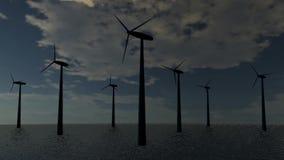 风能涡轮在海 向量例证