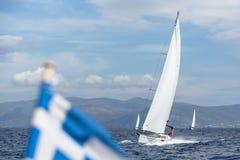 风船参加在希腊海岛群中的航行赛船会第12 Ellada秋天2014年在爱琴海 图库摄影