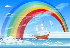 风船和彩虹 免版税库存照片