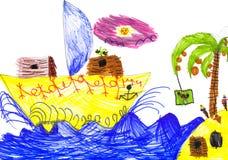 风船和海岛。儿童图画。 免版税库存照片
