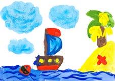 风船和海岛。儿童的图画。 库存图片