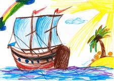 风船和海岛 childs画 图库摄影