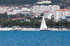 风船在港口 免版税库存照片