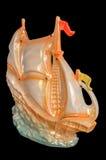 风船小雕象形象被隔绝在黑色 免版税库存照片