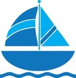 风船旅行商标剪贴美术蓝色 免版税库存照片