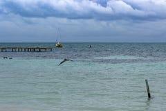 风船说谎在船锚在离Caye填缝隙工的附近,伯利兹海岸  免版税库存照片