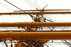 风船,系船柱,绳索,救助艇,帆柱 图库摄影
