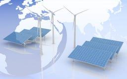风车和太阳电池板在世界地图背景 免版税库存图片