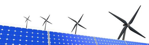 风车和太阳电池板的风景图象 库存图片