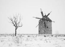 风车在冬天 库存图片