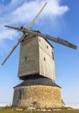 风车在冬天 库存照片