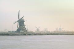 风车在冬天 免版税图库摄影