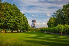 风车在布鲁基,比利时 免版税库存照片