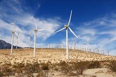 风车在棕榈泉,加利福尼亚,美国 免版税库存照片