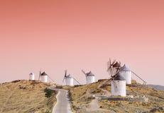 风车在Consuegra,西班牙。 库存照片