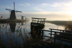 风车在Kinderdijk 免版税图库摄影