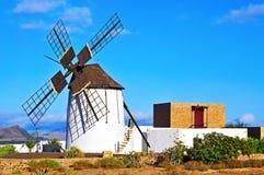风车在Tiscamanita,费埃特文图拉岛,加那利群岛,西班牙 库存图片