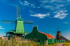 风车在Zaanse Schans,荷兰,荷兰 库存照片