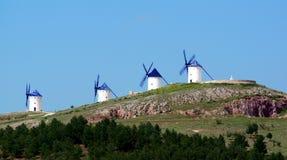 风车莫利诺斯de Viento Alcazar de圣胡安,西班牙 库存图片