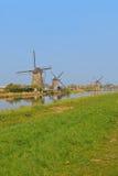 风车行在kinderdijk的与绿草领域大可看见的区域  图库摄影