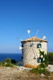 风车,扎金索斯州,希腊 免版税库存图片
