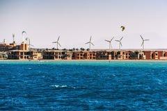 风车, kiters ans海 图库摄影