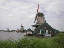 风车, Zaanse Schans,荷兰 库存图片
