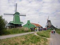 风车, Zaanse Schans,荷兰 免版税库存照片