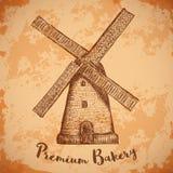 风车 优质面包店 葡萄酒海报,标签,面包的组装 减速火箭的手拉的传染媒介例证风车农场 免版税库存照片