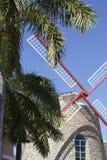 风车behing的棕榈树 免版税库存图片