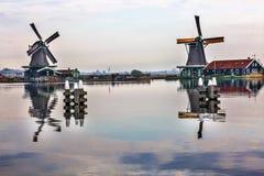 风车Zaanse Schans村庄荷兰荷兰 库存图片