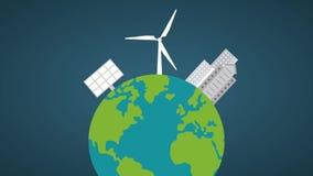 风轮机和太阳电池板HD动画 皇族释放例证