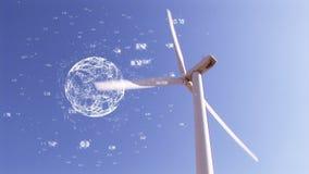 风轮机和数字地球 向量例证