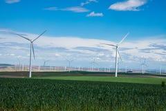 风轮机和麦田在东俄勒冈 免版税库存图片