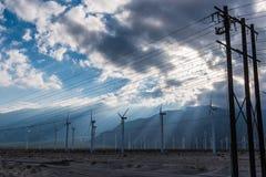 风轮机在棕榈Desert地区 免版税库存照片