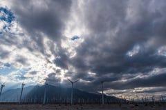 风轮机在棕榈Desert地区 库存图片