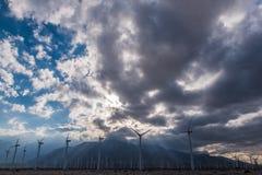 风轮机在棕榈Desert地区 库存照片