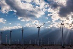 风轮机在棕榈Desert地区 免版税库存图片