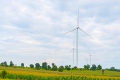 风轮机在领域、天空蔚蓝和云彩背景做了可再造能源在猜也奔府泰国 库存照片